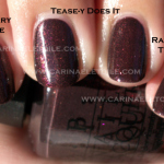 OPI Tease-y Does It vs Nubar Raspberry Truffle