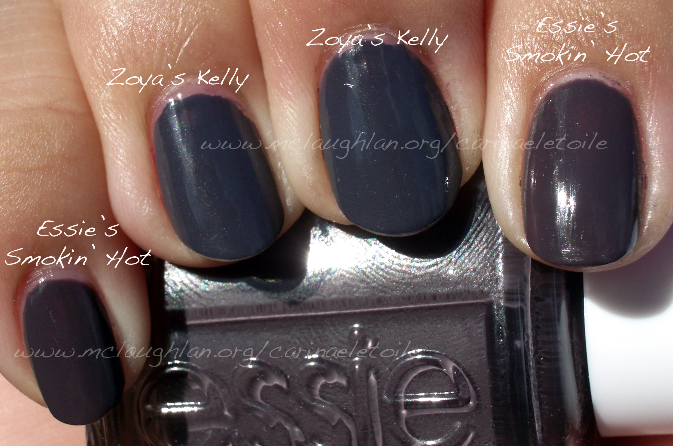 Essie – Smokin\' Hot vs Zoya – Kelly | Carinae L\'etoile\'s polish stash