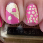 Pediatric and Breast Cancer awareness mani aka Pink and Gold mani