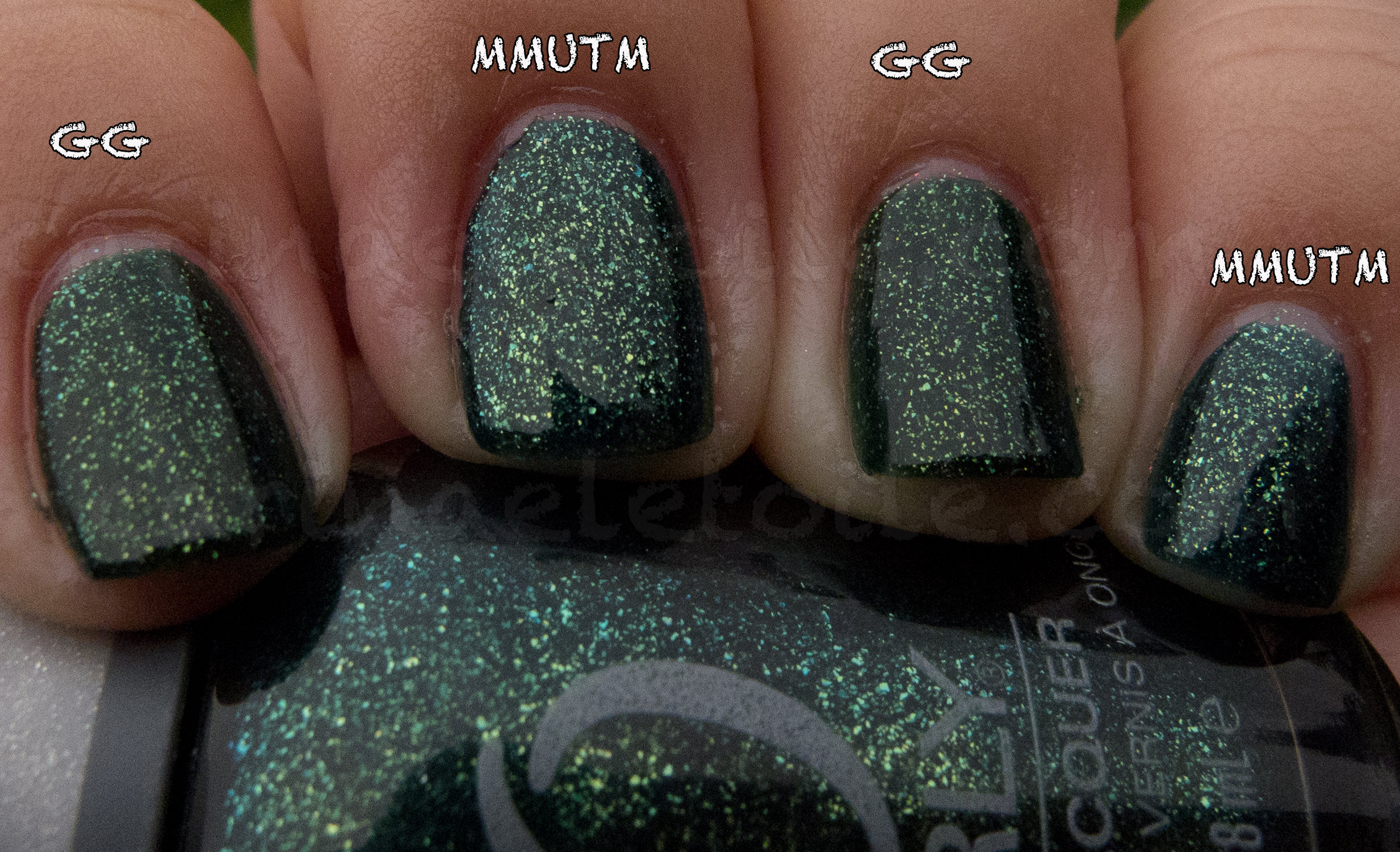 China Glaze Glittering Garland vs Orly Meet Me Under the Mistletoe