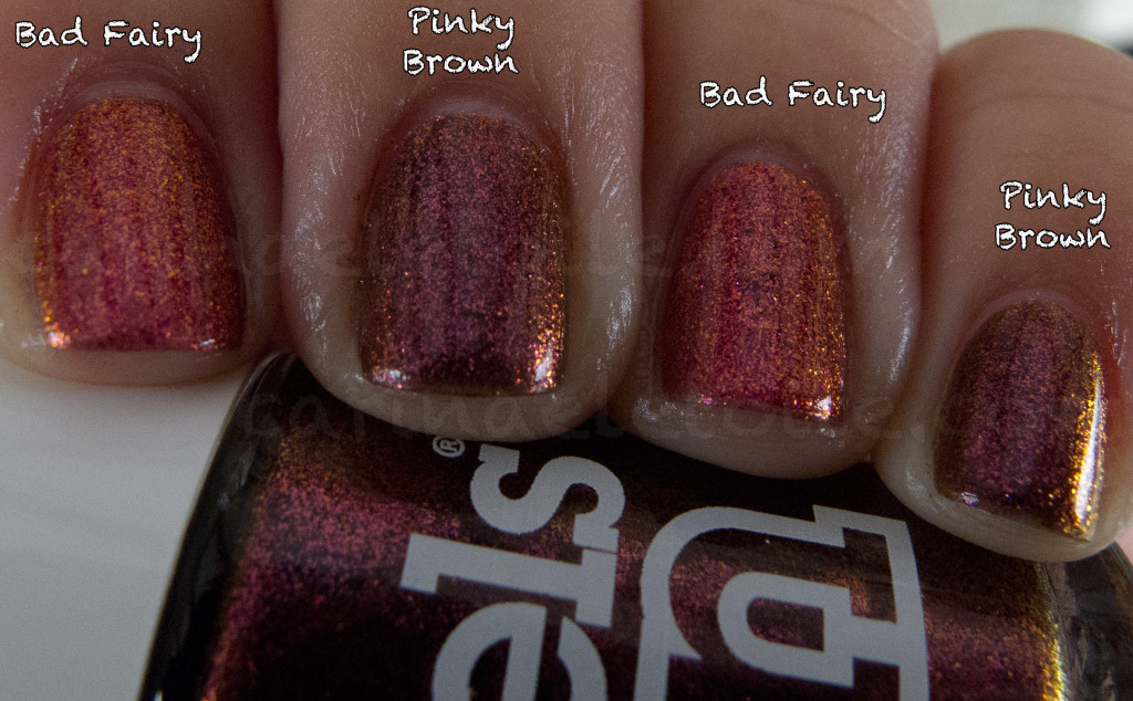 Comparison MAC Bad Fairy vs Models Own Pinky Brown